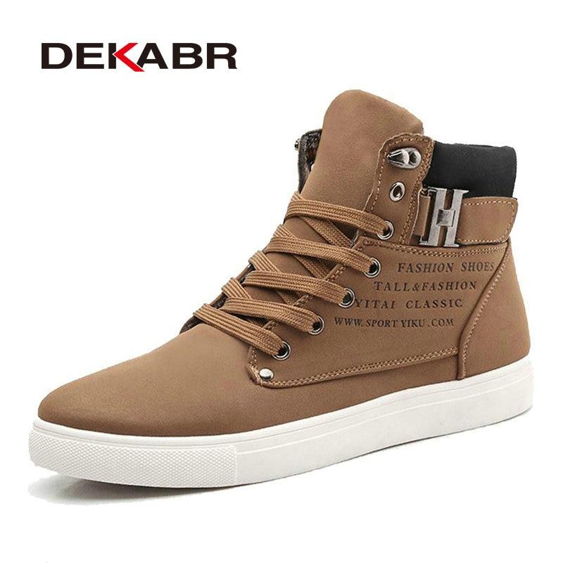 DEKABR New Men High Top Canvas Shoes Fashion Casual Shoes Autumn Winter Warm Fur Men Boots Men Leather Footwear Big Size 38~46<br><br>Aliexpress