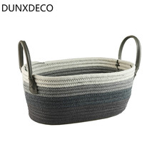 DUNXDECO Home Office Storage Cotton Thread Basket Modern Nordic Grey Stripe Book Magazine Snack Holder Container Decoration(China)