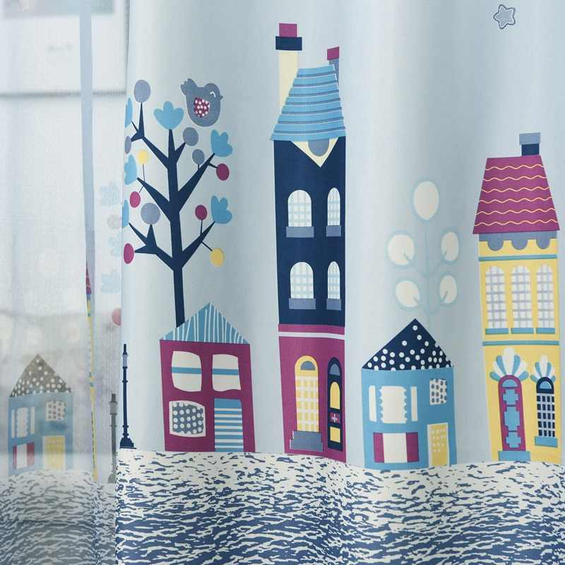 Cartoon Tree Castle Printed Window Curtains for Children Kids Bedroom Living Room Sheer Window Drapes Blue Color