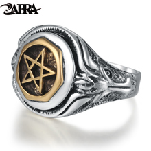 ZABRA Genuine Solid Silver Vintage Ring Men Punk Eagle Sculpture Gold Color Five Point Star Mens Sterling Silver 925 jewelry