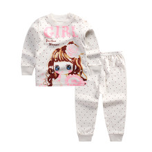 Boys girls Spring Autumn clothing sets Children T-shirt+ pant warmly beautiful girls tops undershirt sleep clothes sets(China)
