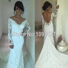 Sexy V Neck White French Wedding Lace Dress Off Shoulder Long Sleeves Mermaid Wedding Dress Gothic Bridal Gowns Big Size AS110