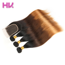 Hair Villa Pre-Colored Indian Straight Ombre Human Hair Lace Closure #1b/4/30 Non-Remy Hair 2/3 Bundles With 4*4 Lace Closure(China)