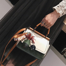 Women's bag 2017 new hit color personalized small square fashion handbag girls pu with handle shoulder Messenger bag