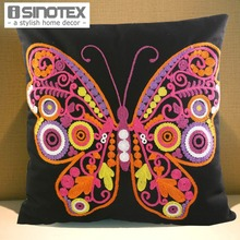 40x40cm Canvas Butterfly Embroidery Throw Pillowcase Cushion Embroidery Throw Decorative 3D Sofa Decor Bed(China)