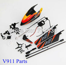 V911 Main Blades New Landing Skid Gear Wheel Canopy Balance Bar Tail Blade Canopy Parts For Upgrade V911 V911-1 RC Helicopter(China)