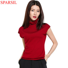 Sparsil Women's Summer New Ruffled Collar Sweaters Short Sleeve Knitted Shirt Fashion Daily Life Knitwear