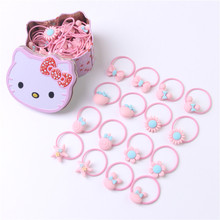 Shapu 40pcs box Hello Kitty children hair rope baby's hair ribbon safety cartoon rubber band tiara kids headwear girls flowers