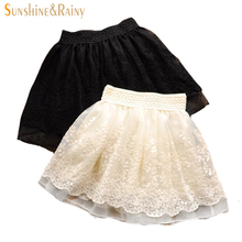 New 2017 Spring Autumn Fashion Cute Lace Flower Teenagers Skirt Mini Princess Children Skirt Suit 12~20 Age Girls Tutu Skirt