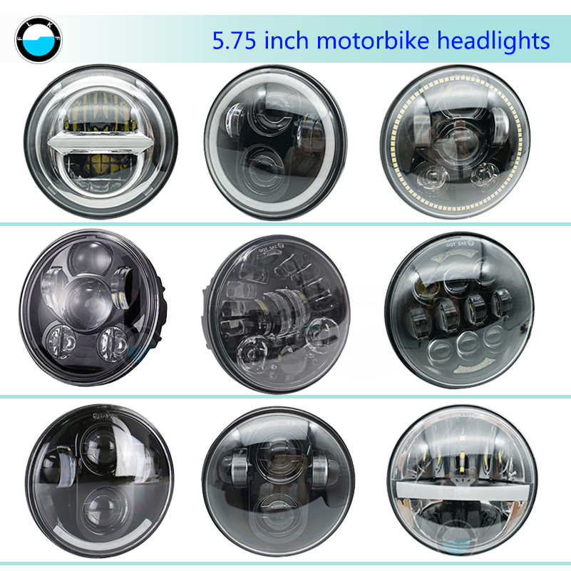 Headlight Halo SKUNTUANG Chrome 5.75 Inch LED Projector Motorcycle Headlight with White Ring DRL Light for Harley Davidson