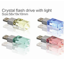 Brand New Crystal 3D LED Light Custom Company DIY LOGO Personalized USB 2.0 Memory flash stick pen  drive