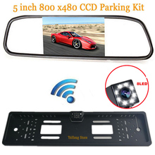 "3in1 5""hd Auto Parking 800 x 480 Mirror Monitor 2 Video input Wireless European Russia License Plate Frame Car Rear View Camera(China)"