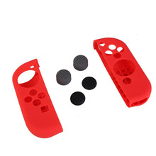 6 in 1 Silicone Case Rubber Dustproof Cover With Grips Cap for Nintendo Switch Console Controller Red