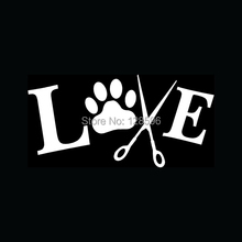 LOVE TO GROOM Sticker Animals Dogs Pet for Car Window Vinyl Decal Wash Cut Hair Bath Nails Ear