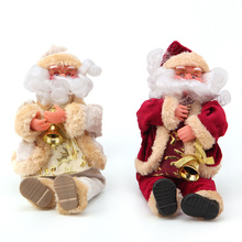 "On Sale 28cm/11"" Christmas Sitting Santa Claus Doll Home Ornament Decor Gift with Bell"