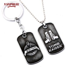 Hot Game Rise of the Tomb Raider Celebration Choker Necklace for Women Dog Tag Pendant Keyring Keychain Charm Necklace Gifts