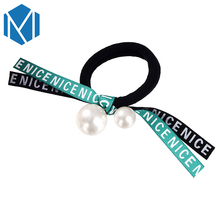 M MISM Girls Fashion Ribbon Bow Elastic Hair Bands Perfect Quality Letter Rubber Scrunchy for Women Lovely Fine Hair Accessories