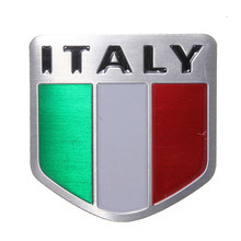 2016 Newest Auto Alloy Metal 3D Emblem Badge Racing Sports Decals Sticker for ITALY Italian Flag(China)