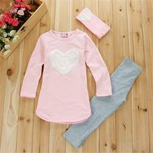 3pcs 1pc Hair Band+1pc Shirts+1pc Pants Children's Clothing Set Girls Clothes Suits Pink Red Heart(China)