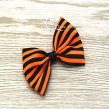 Handmade decorative Bows 60PCS/LOT - kids hair acessory chiffon fabric Bowknots for Halloween -orange/black striped bows