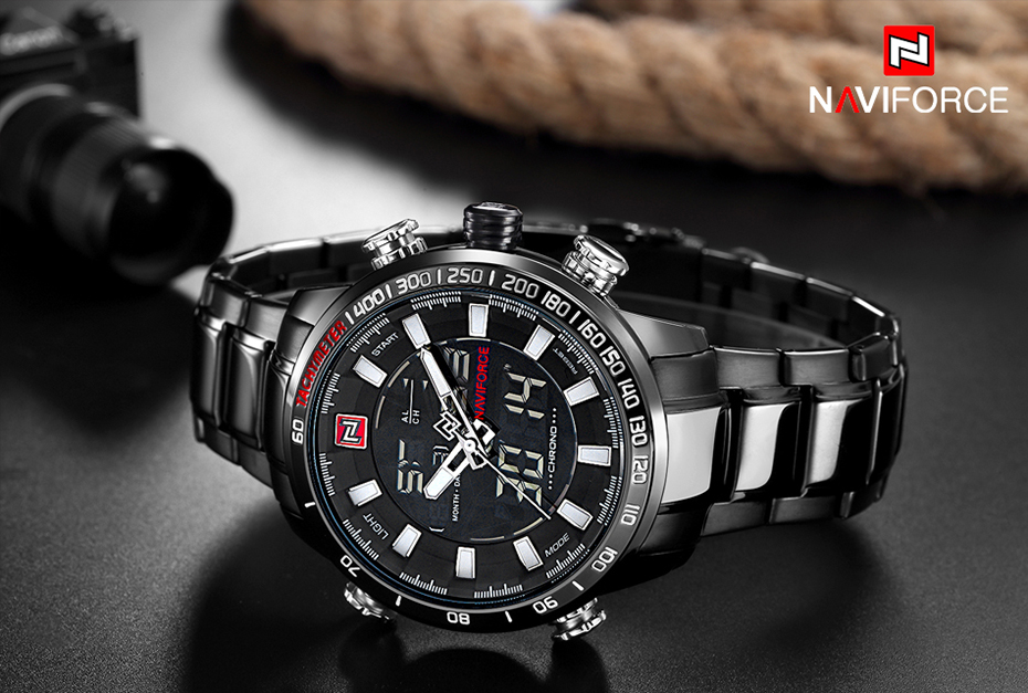 Top Brand Quartz Men Military Sport Watches Mens LED Analog Digital Watch Male Army Stainless Clock Relogio Masculino NAVIFORCE 9