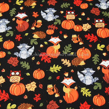 hl027 - 1 Yard Cotton Poplin Fabric - Thanksgiving Day, Animals and Pumpkin, Red Fox, Owl, Raccoon, Hedgehog, Pine - Black(W140)