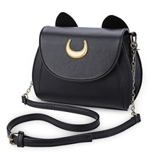 Kawaii Summer Sailor Moon Ladies Handbag Black Luna Cat Shape Chain Shoulder Bag PU Leather Women Messenger Crossbody Small Bag