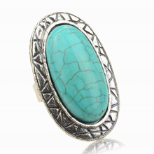 1Pcs Women Alloy Antique Blue Oval Rings Vintage Look Tibetan Adjustable Rings Women Fashion Jewelry