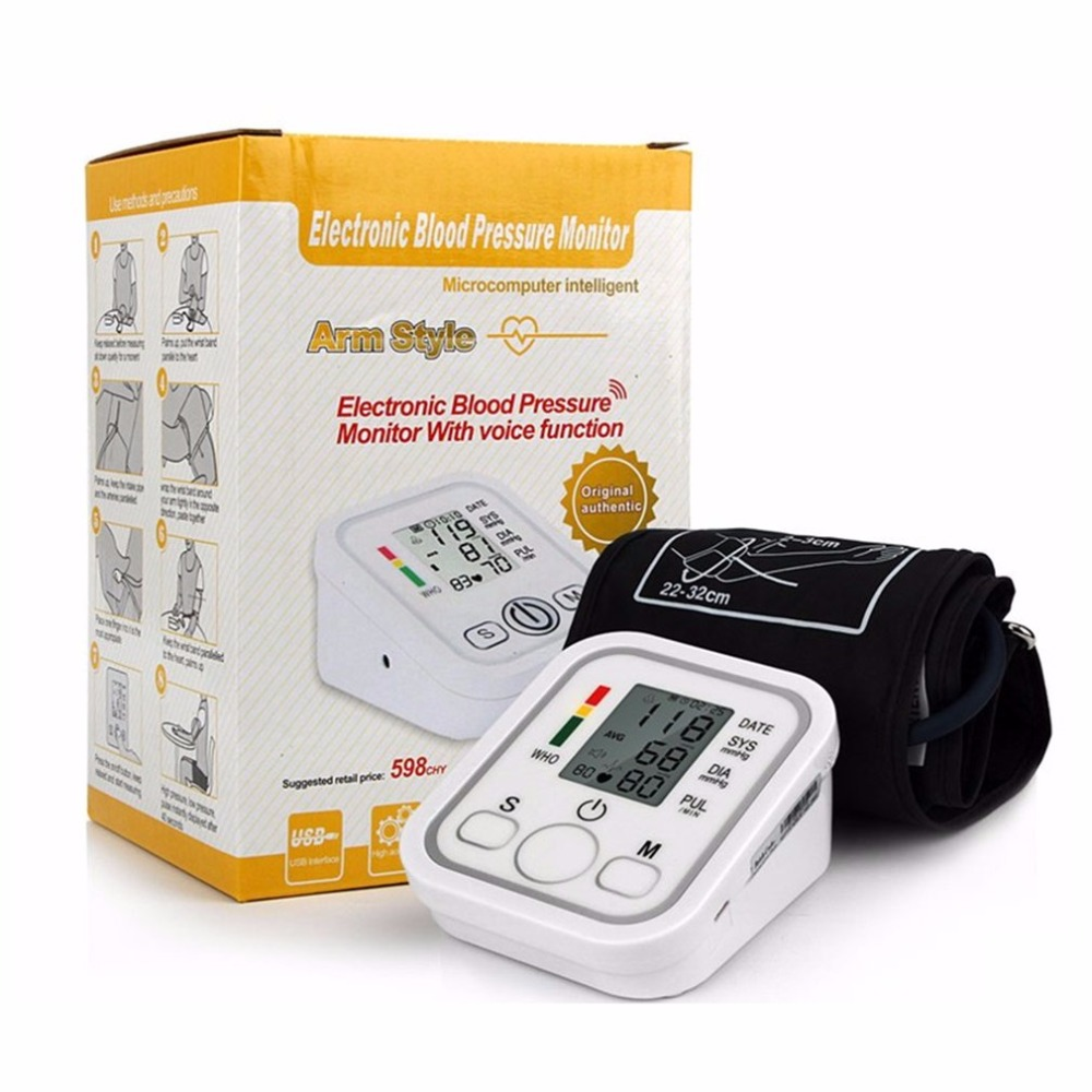 Arm Type Electric Voice Tonometer Meter Health Care 99 Memory Blood Pressure Monitor Pulse Oximeter Household Sphygmomanometer 9