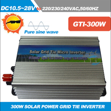 Free shipping!!300W On-grid Solar Power Inverter with Pure Sine wave DC 10.5-28V to AC110/220V 50/60HZ grid tie inverter