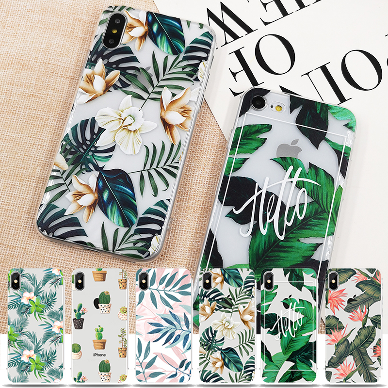 Retro Summer Leaf Case For iPhone X XS 6 6s 7 7plus 8 8plus XR XS Max Soft TPU Silicon Cases Color Leave Print Back Cover (China)