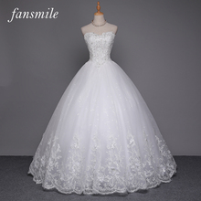 Fansmile Sexy Quality See Through Lace Ball Gown Wedding Dress 2016 Vestidos de Novia Plus Size Wedding Dresses Free Shipping