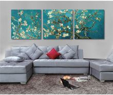 Print Painted Van Gogh Oil Painting Reproductions 3 Piece Abstract Canvas Art Almond Flower Picture Modern Wall Decor