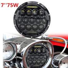 75W Headlamp 7inch Wrangler LED Headlight with DRL for Motorcycle Harley Davidson Hummer 12V 24V External lights