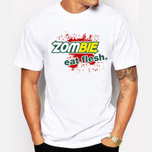 2017 Summer Fashion walking dead Zombie - Eat Flesh Design T Shirt Men's High Quality Custom Printed Tops Hipster Tees