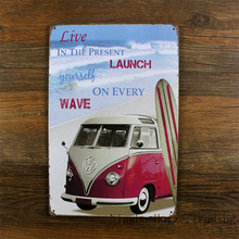 HZ052 Wave And Bus Vintage metal planque tin sign retro metal painting art poster plaque Travelling 20*30cm wall sticker decor
