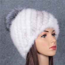 Mink fur hat winter large silver fox hair ball water mink knitting autumn and winter ear protection warm pineapple cap
