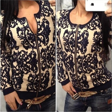 New 2016 spring/Autumn/winter women's sweater blazer cardigan blue white porcelain printed loose long-sleeve sweaters(China)