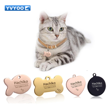 YVYOO Pet Cat Dog collar accessories Decoration Pet ID Dog Tags Collars stainless steel Cat tag customized tag Free engraving BB(China)