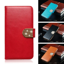 Vintage Jewelled plain Business wallet PU leather cover case for Micromax Bolt Pace Q402