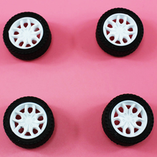 yuanmbm 10pcs 2*32mm tamiya rubber plastic Wheel hot wheel toy wheel Toy Accessories Technology Model Parts/rc/baby toys 322AH(China)