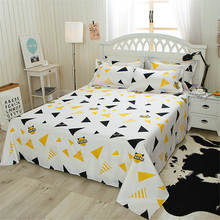 1 Pcs Polyester/Cotton Flat Sheet Good Hand Feel Soft Comfortable Colorful Printing Bedding Linens Sanding Bed Sheets(China)