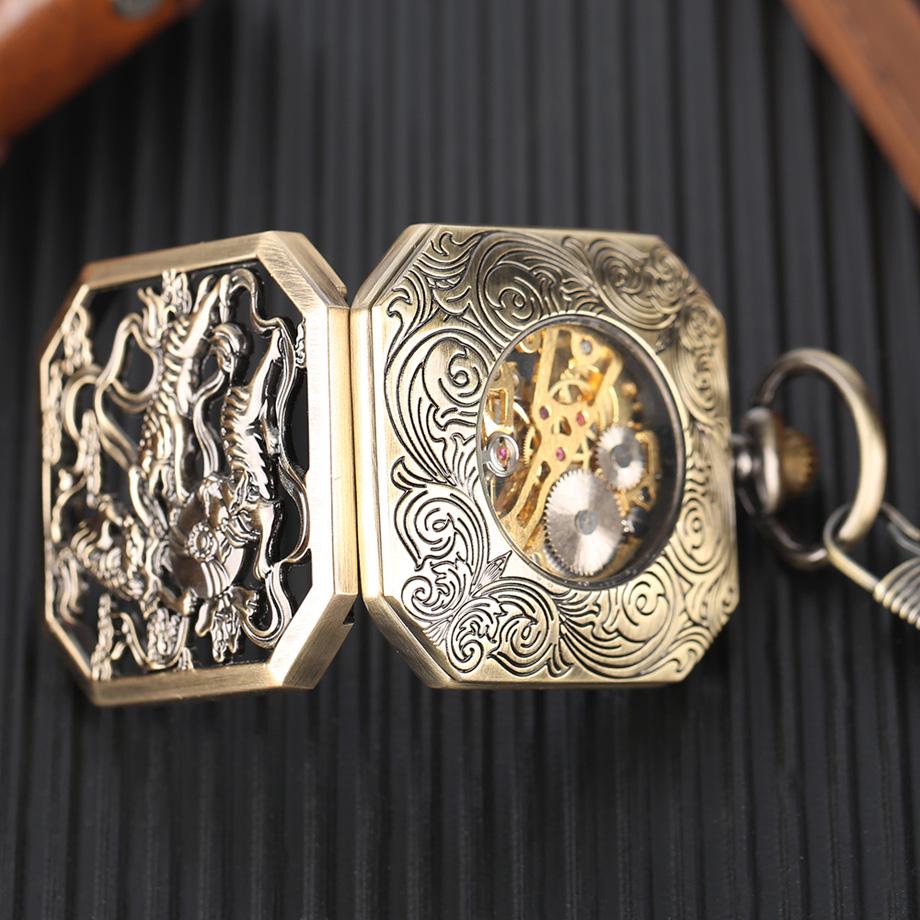 Luxury Bonze Double Tiger Pocket Watch Irregular Red Roman Numbers Mechanical Hand Wind Watches Steampunk Men Unique Clock Gift (6)