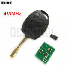 QCONTROL Car Remote Key Suit for Ford Fusion Focus Mondeo Fiesta Galaxy FO21 Blade 3 Buttons 433Mhz(China)
