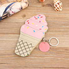 Kawaii Children Kids Bag Pouch Cartoon PU Leather Wallet Coin Purse With Keyring Ice Cream Bottle Handbags Storage Bags