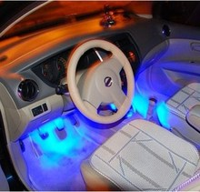 4x 3 LED Blue Car Charge interior accessories foot car decorative 4in1 lights Car Interior Decoration Light
