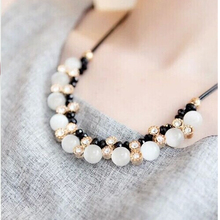 Trendy Necklace Top Quality Opal Rhinestone Crystal Beads Necklaces Plated Chain Necklace Jewelry For Women 4ND216