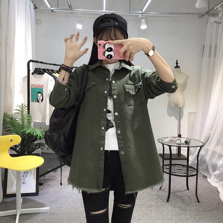 2018 Spring Autumn New Long Section Lapel Tassel Denim Jackets Women Loose Casual Long Sleeve Female\'S Thin Basic Jacket Coats (17)