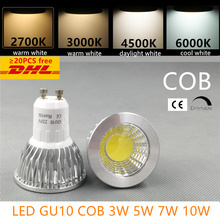 led bulb spotlight dimmable GU10 cob mr16 3w 5w 7w 10w warm white 2700k 3000Kdaylight cool white real power replace halogen lamp(China)