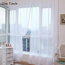 Modern curtains for living room cortinas 1PC Pure Color Tulle Door Window Curtain Drape Panel Sheer Scarf Valances 200x100cm